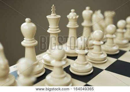 Set Of White Chess Pieces On A Chessboard Close