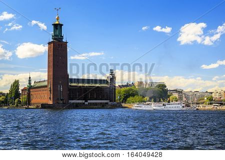 STOCKHOLM, SWEDEN - JUNE 27, 2016: This is City Hall which is internationally known for the fact that it held a ceremony awarding the Nobel Prize.