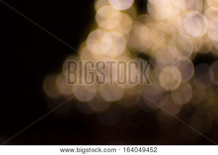 Bokeh Light Gold Defocus At Night Abstract.
