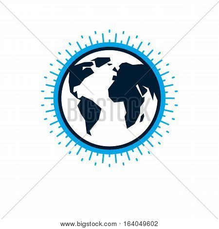 Earth globe sign vector icon isolated on white