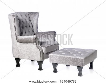 comfortable armchair, soft feet support, isolated on white background
