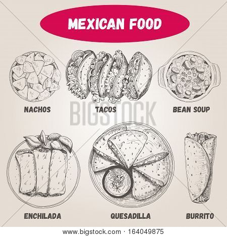 Mexican food set. Mexican food vector illustration. Linear graphic style. Vector set of Mexican cuisine.