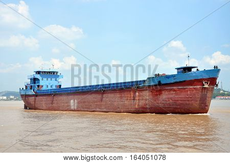 Barge on Yangtze River, Nanjing, Jiangsu Province, China.