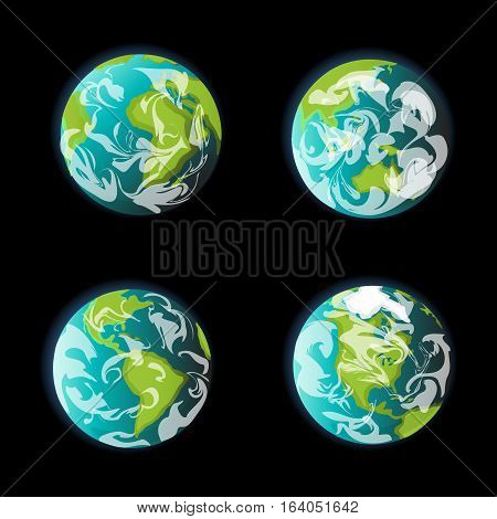 Earth from space continent vector set. Globe world map icon. weather forecast illustration with wind and cloud cover