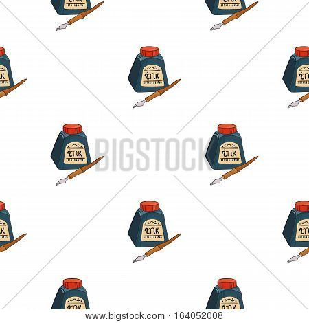 Dip pen with inkwell icon in pattern style isolated on white background. Artist and drawing symbol vector illustration.