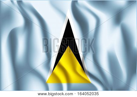 Flag Of Saint Lucia. Rectangular Shaped Icon With Wavy Effect