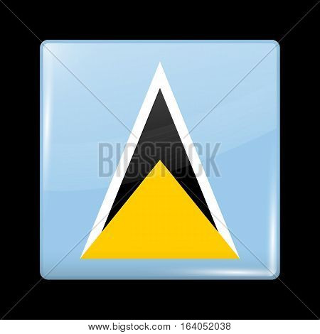 Flag Of Saint Lucia. Glossy Icon Square Shape