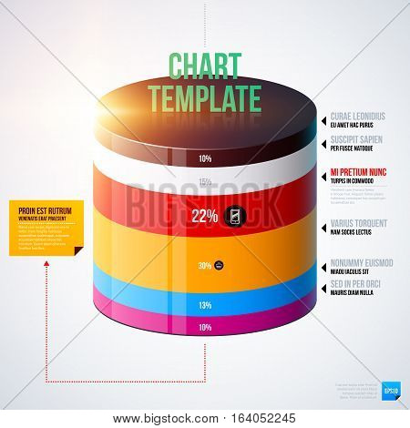 Infographics Chart Template With 3D Cylinder. Useful For Presentations And Advertising.