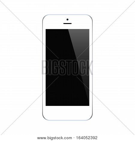 smartphone white color with blank touch screen isolated on white background. stock vector illustration eps10
