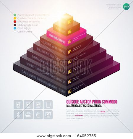 Isometric 3D Pyramid Chart Template On White Background. Eps10