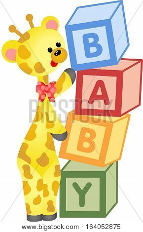 Scalable vectorial image representing a cute giraffe with alphabet baby blocks, isolated on white.