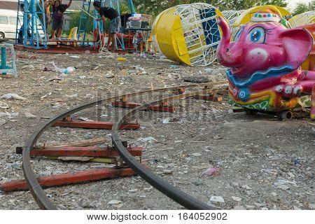 Amusement Park In A Temple Festival