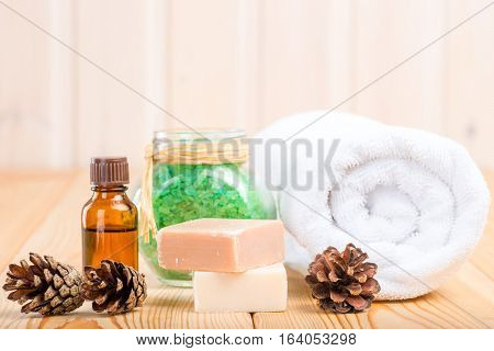 Natural Pine Extract And A Set For Spa Treatments