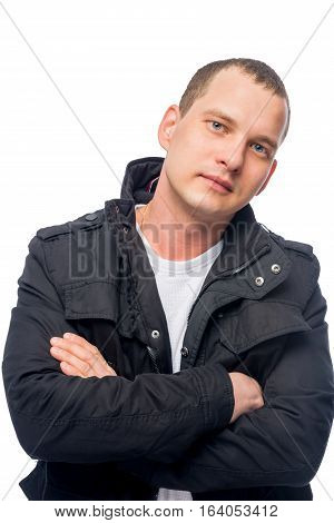 Vertical Portrait Of A Man In A Black Jacket On A White Background