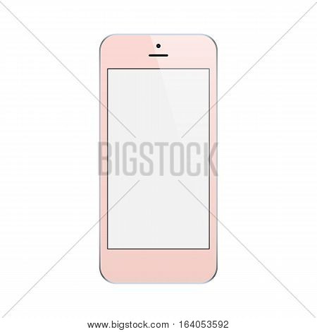 smartphone rose gold color with blank touch screen isolated on white background. stock vector illustration eps10
