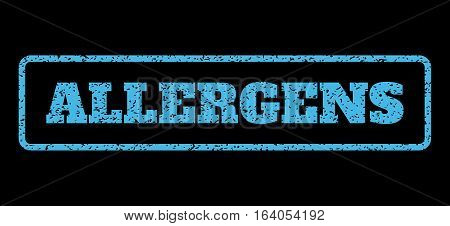 Light Blue rubber seal stamp with Allergens text. Vector tag inside rounded rectangular shape. Grunge design and dust texture for watermark labels. Horisontal sticker on a black background.