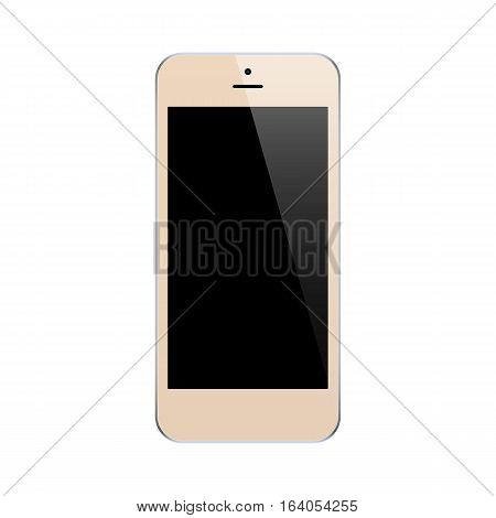 smartphone gold color with blank touch screen isolated on white background. stock vector illustration eps10