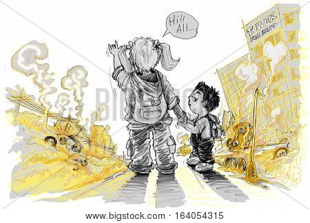 Girl say Hi all and I love you hand symbol show a sincere friendship to the children result of conflict politicalSister and brother shocked and wondered the city are destroyedForeground is rubble ruins buildingspower pole Pencil color.