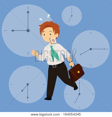 Vector illustration of a business man in hurry for work in rush hour with a toast in his mouth. clock background.