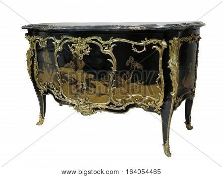 Antique Chest Of Drawers Known As Commode Wood Inlaid Ormolu Furniture Isolated On White