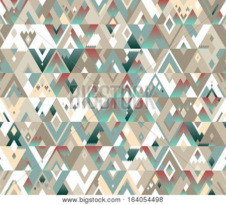 Seamless geometric vector pattern of triangles in a hipster style. The beige and turquoise shades with gradients.