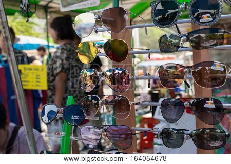 Many Types Of Glasses At Glasses Shop