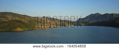 Landscape near Pokhara Nepal. Lake Begnas Tal.