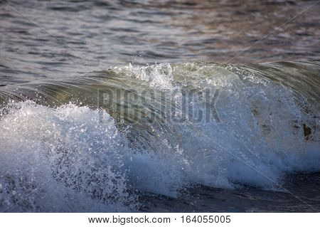 Rare Close Up Detail Of Wave In The Sea Near Beach