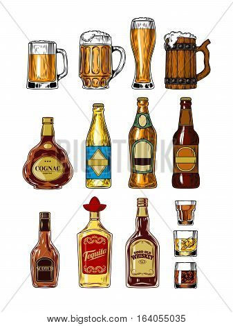 Vector set of bottles and stemware with alcohol, beer glasses and mugs