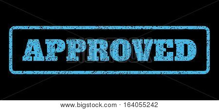 Light Blue rubber seal stamp with Approved text. Vector tag inside rounded rectangular shape. Grunge design and unclean texture for watermark labels. Horisontal sign on a black background.