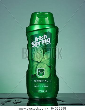 PLEASANT VALLEY CANADA - JANUARY 05 2017: Irish Spring body wash bottle. Irish Spring is a brand name owned by the Colgate-Palmolive company.