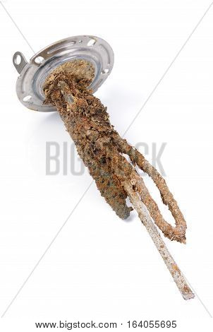 heating element of water heater with scum and sediment isolated on white background