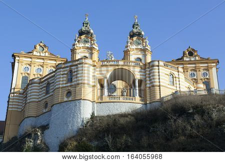 The view of Melk Abbey Benedictine abbey above Melk town (Austria).