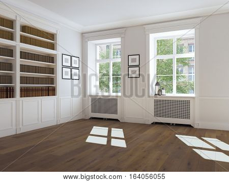3d rendering. empty bright room with windows bookcase and parquet floor