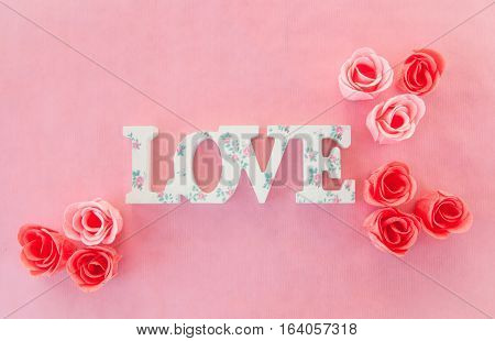Love banner with pink and red roses