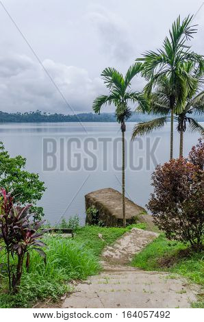 Concrete jetty, pathway and palms overlooking Barombi Mbo crater lake in Cameroon, Africa.