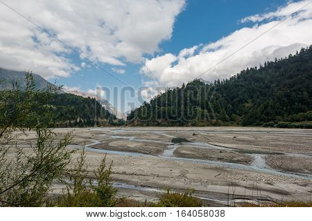 Landscape of river bed with individual streams. Kali Gandaki valley in Nepal.