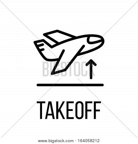 Takeoff icon or logo in modern line style. High quality black outline pictogram for web site design and mobile apps. Vector illustration on a white background.