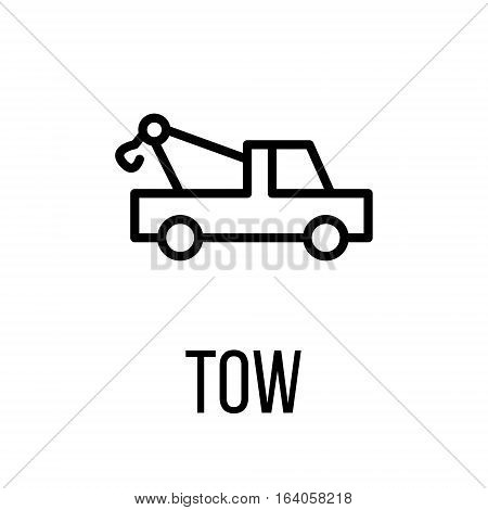 Tow icon or logo in modern line style. High quality black outline pictogram for web site design and mobile apps. Vector illustration on a white background.