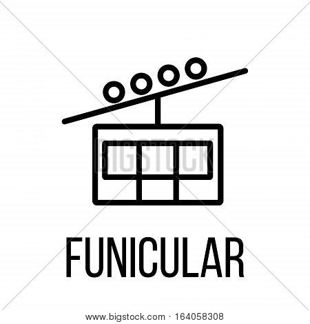 Funicular icon or logo in modern line style. High quality black outline pictogram for web site design and mobile apps. Vector illustration on a white background.