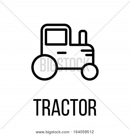 Tractor icon or logo in modern line style. High quality black outline pictogram for web site design and mobile apps. Vector illustration on a white background.