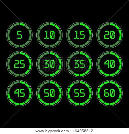 Digital countdown timer with five minutes interval in modern style. Set of 12 timer icons. Vector illustration on a black background.