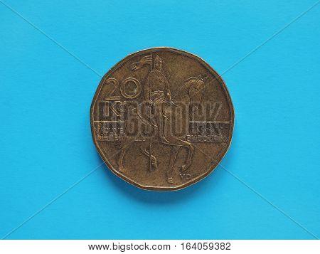 20 Korunas Coin, Czech Republic