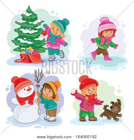 A set of vector icons of small girls mold snowmen, playing snowballs, ice skating and decorating the Christmas tree