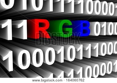 additive color model RGB in the form of binary code, 3D illustration
