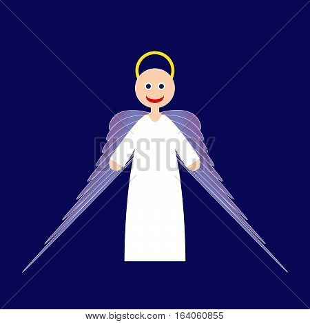 Cartoon cute smiling angel with yellow nimbus, long purple wings and white clothes on blue background, vector illustration