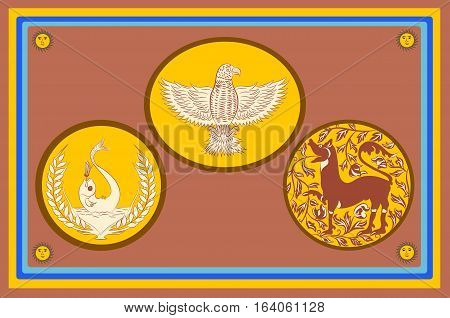 Flag of Eastern Province is one of the nine provinces of Sri Lanka. Vector illustration