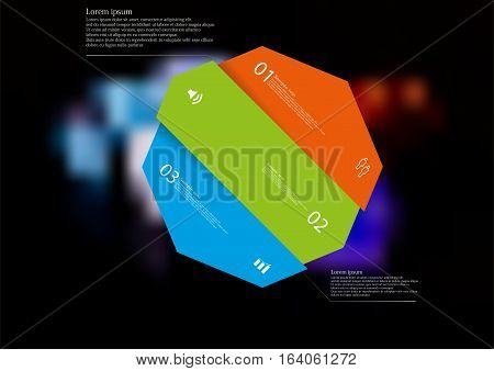 Illustration infographic template with motif of color octagon askew divided to three sections with simple signs. Blurred photo with colorful game dices is used as background.