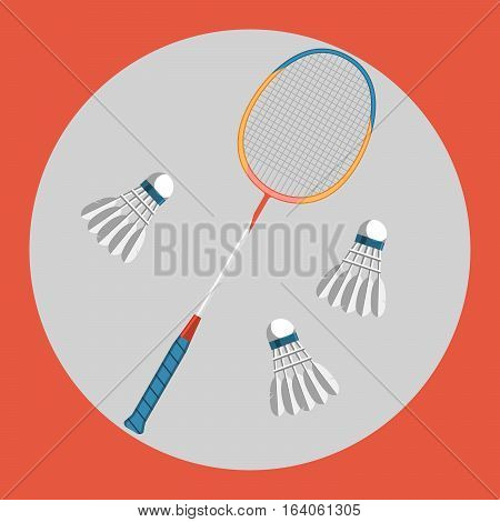 Badminton racquet icon. Colorful badminton racquet and three badminton shuttlecocks on a red background. Sports Equipment. Vector Illustration