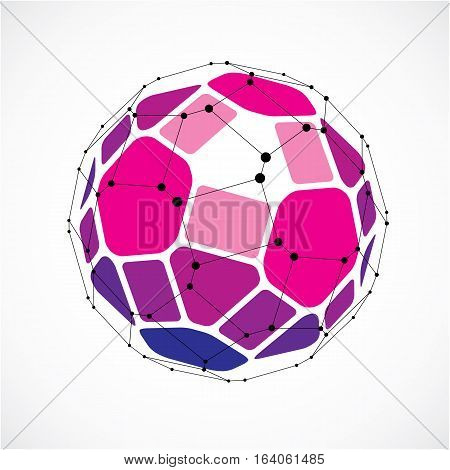 Abstract 3D Faceted Figure With Connected Black Lines And Dots. Vector Low Poly Purple Design Elemen